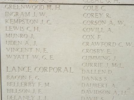 Inscription on Menin Gate– Menin Gate panel 18