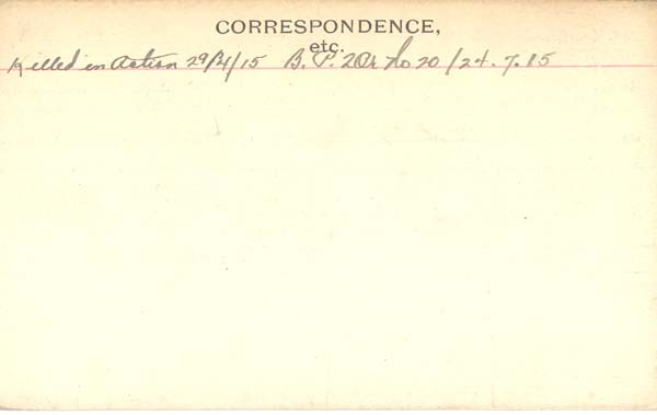 Record of Service– Record of Service Card (reverse side).  Submitted by 15th Bn Memorial Project.  DILEAS GU BRATH