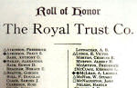 Roll of Honour– Lance Corporal Alexander Bailey's name was included on The Royal Trust Company 1914 - 1918 Roll of Honour. The Royal Trust Company was established in Montreal in 1899 and by 1914 had branches across Canada. Image source:  The Standard / Canada's Aid to the Allies and Peace Memorial.  Edited by Frederick Yorston. Published by the Montreal Standard Publishing Co., Ltd., Montreal.  This large Souvenir Edition magazine included Rolls of Honour for various prominent Canadian businesses.