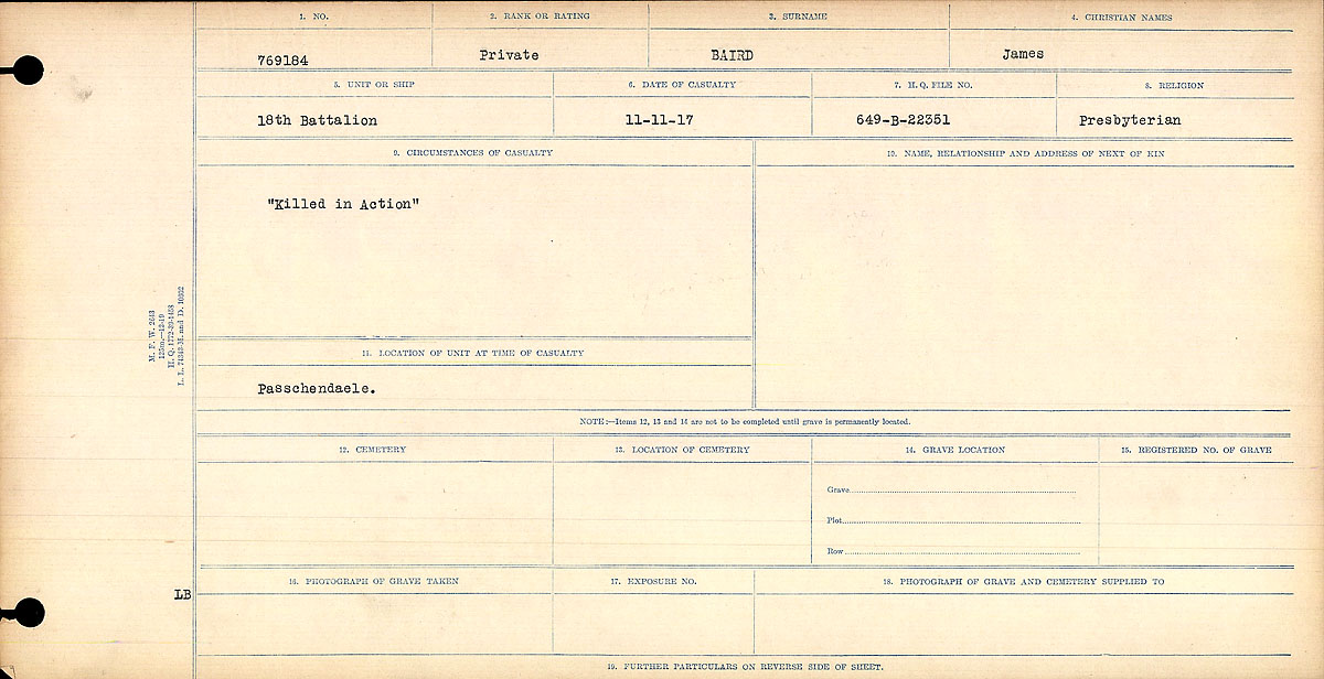 "Circumstances of Death Registers– Circumstances of Death Register: ""Killed in Action"""
