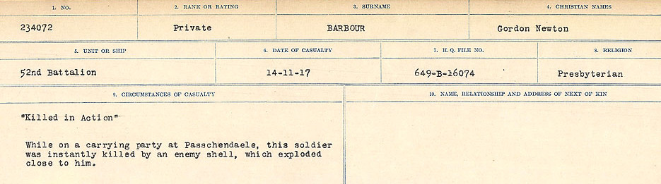 Circumstances of Death Registers– Source: Library and Archives Canada.  CIRCUMSTANCES OF DEATH REGISTERS, FIRST WORLD WAR Surnames:  Babb to Barjarow. Microform Sequence 5; Volume Number 31829_B016715. Reference RG150, 1992-93/314, 149.  Page 985 of 1072
