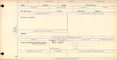 Circumstances of death registers– Private Frank Barker