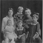 Family Photo– Private Barkley beside his wife Victoria. Their children are Harvey, Bessie, Pearl and Rose.