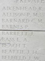 Inscription– Menin Gate panel where Private Percy Barnes is commemorated.  Photo by BGen Young (ret) and submitted by Capt (ret) V Goldman of the 15th Bn Memorial Project.  DILEAS GU BRATH