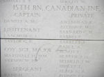 Menin Gate– Menin Gate panel where Private James Barrett is commemorated.  Photo by BGen Young (ret) and submitted by Capt (ret) V Goldman of the 15th Bn Memorial Project.  DILEAS GU BRATH
