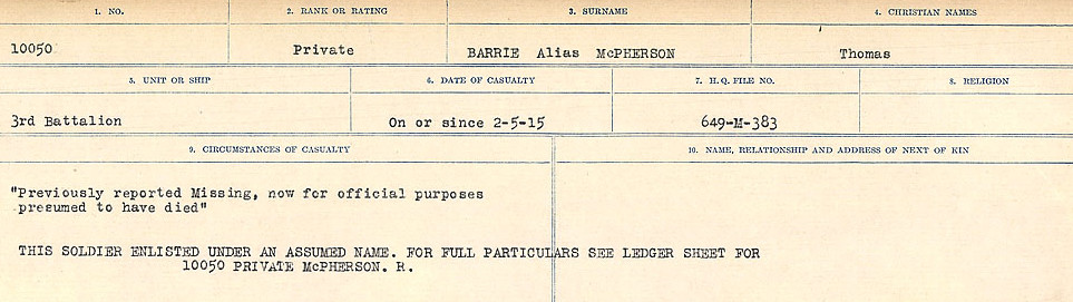 Circumstances of Death– Source: Library and Archives Canada.  CIRCUMSTANCES OF DEATH REGISTERS, FIRST WORLD WAR Surnames:  Bark to Bazinet. Mircoform Sequence 6; Volume Number 31829_B016716. Reference RG150, 1992-93/314, 150.  Page 479 of 1058.