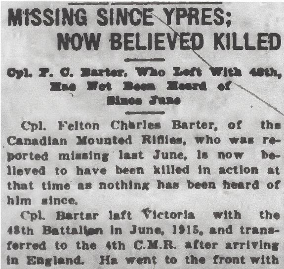 Newspaper clipping– From the Daily Colonist of March 1, 1917. Image taken from web address of http://archive.org/stream/dailycolonist59y69uvic#page/n0/mode/1up