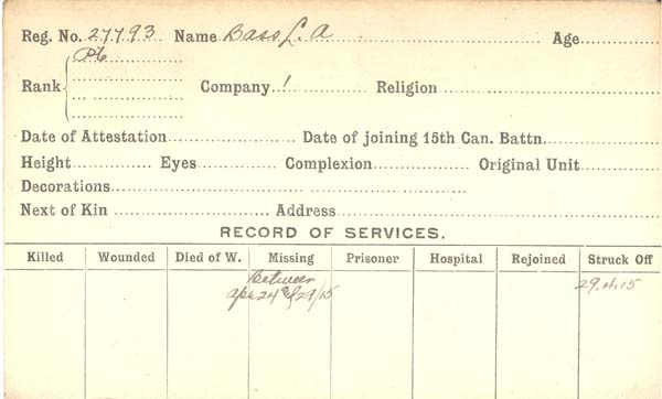 Record of Service– Record of Service Card (front side).  Courtesy 48th Highlanders of Canada.  Submitted by 15th Bn Memorial Project Team.  DILEAS GU BRATH