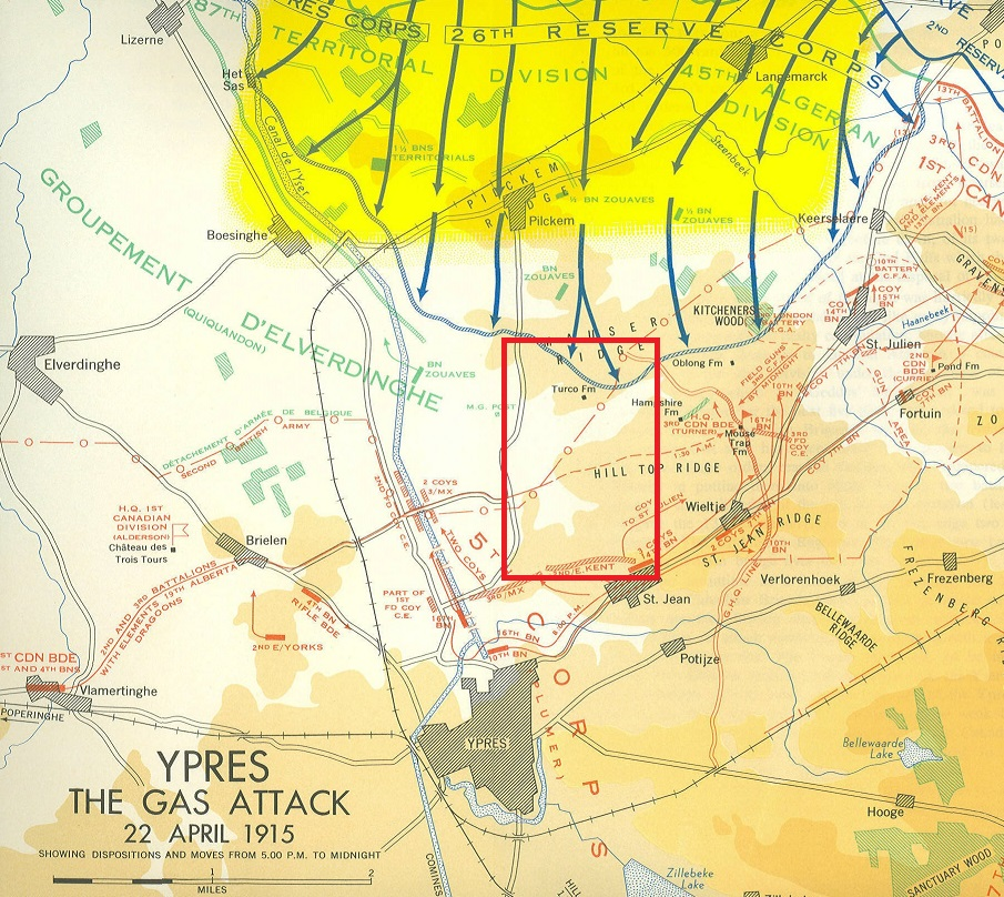 Map– The area north of Ypres, Belgium where Captain Bastedo was engaged in battle and killed near St. Julien on the morning of April 23, 1915 (reference: extract of Nicholson Map 1, Historical Section DND).