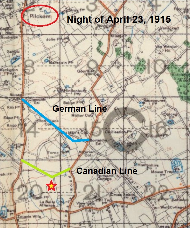 Document– The detailed battle lines of April 23, 1915 with a star (red & yellow) marking the spot where Captain Bastedo's body was last recorded. Remains burial reference is 1:40,000 trench map Sheet 28 Sector C20 Grid b.6.2 (map extract from the Lloyd Reed Collection, McMaster University - marked by Richard Laughton, Canadian Expeditionary Force Study Group).