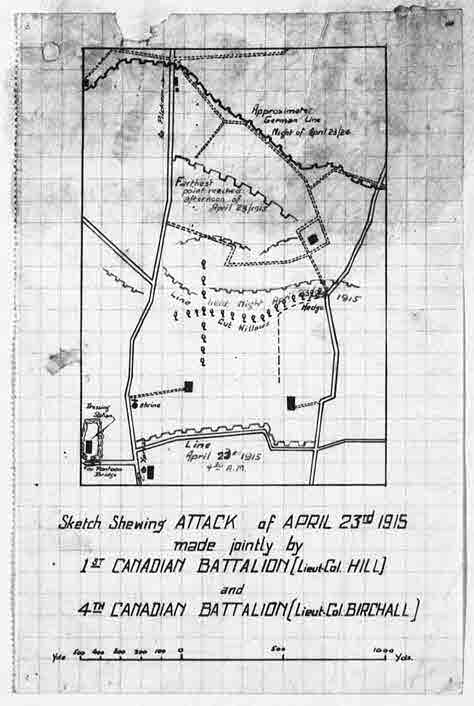 Document– The actual attack map for April 23, 1915 from the War Diary of the 4th Infantry Battalion of the Canadian Expeditionary Force. This map was used to mark-up the trench map relative to the location of Captain Bastedo on the morning of his death during the 2nd Battle of Ypres and on the 2nd day of the first major use of poisonous gas in the Great War of 1914-1921.