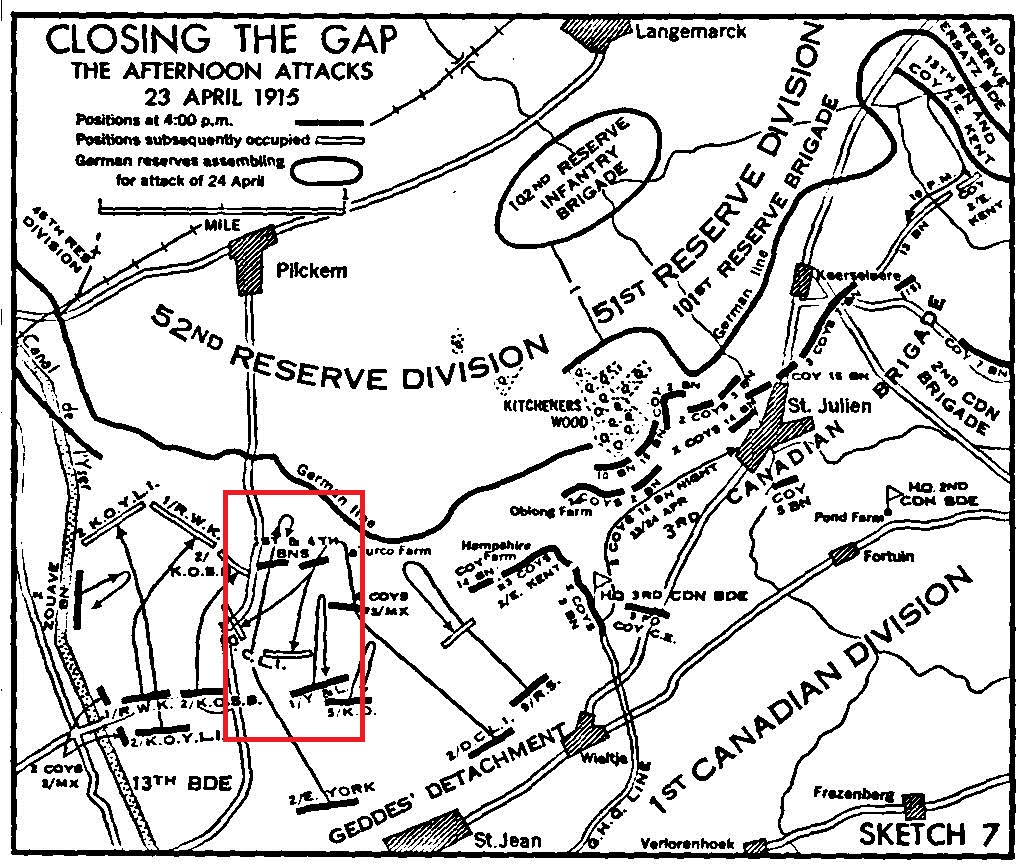 Document– The red box inserted onto Nicholson Sketch 7 shows the location of the 1st and 4th Battalions of the Canadian Expeditionary Force relative to the units of the British Army on their left and right flanks. The Canadian 1st and 4th Battalions were in the 1st Brigade of the 1st Canadian Division. Units of the 2nd and 3rd Brigades were in similar battles well to the right of the 1st Brigade in the attack on Kitcheners Wood.