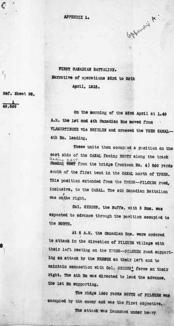 Document– Page 1 of Appendix 1 of the War Diary of the 4th Canadian Battalion in the attack of April 23, 1915. The war diary provides the narrative to go along with the maps shown here. To read the rest of the details, search for the 4th Infantry Battalion on the database of Library and Archives Canada at: http://www.collectionscanada.gc.ca/archivianet/02015202_e.html