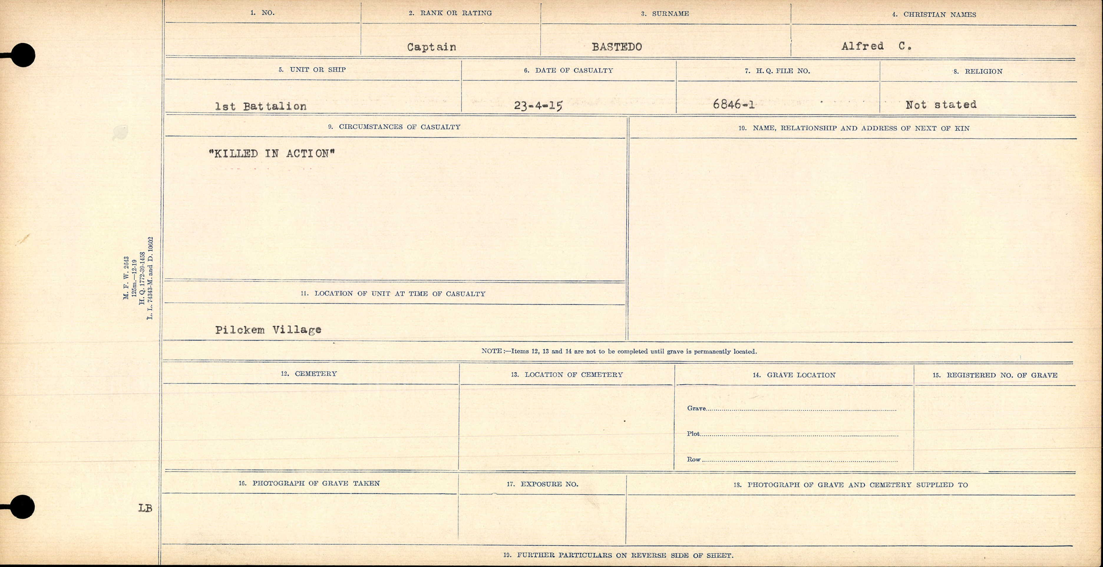 Circumstances of Death Registers– Circumstance of Death (front) record from the collection at Library and Archives Canada. Captain Bastedo is reported killed in action of 23 April 1915 near Pilckem Village.