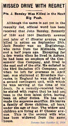 Newspaper Clipping– News Paper Clipping: Toronto Star, October 11, 1916.