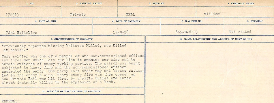 Circumstances of Death– Source: Library and Archives Canada.  CIRCUMSTANCES OF DEATH REGISTERS FIRST WORLD WAR Surnames:  Bell to Bernaquez.  Mircoform Sequence 8; Volume Number 31829_B016718; Reference RG150, 1992-93/314, 152 Page 215 of 670.