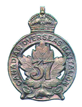 Badge– Cap Badge 37th Bn (Northern Ontario). Lance Corporal Bellerby enlisted with the 37th Bn but was sent to the 15th Bn as a reinforcement..  Submitted by Capt (ret'd) V. Goldman, 15th Bn Memorial Project Team.  DILEAS GU BRATH