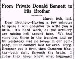 Newspaper Clipping– Clipping from the Renfrew Mercury for 2 April 1915.