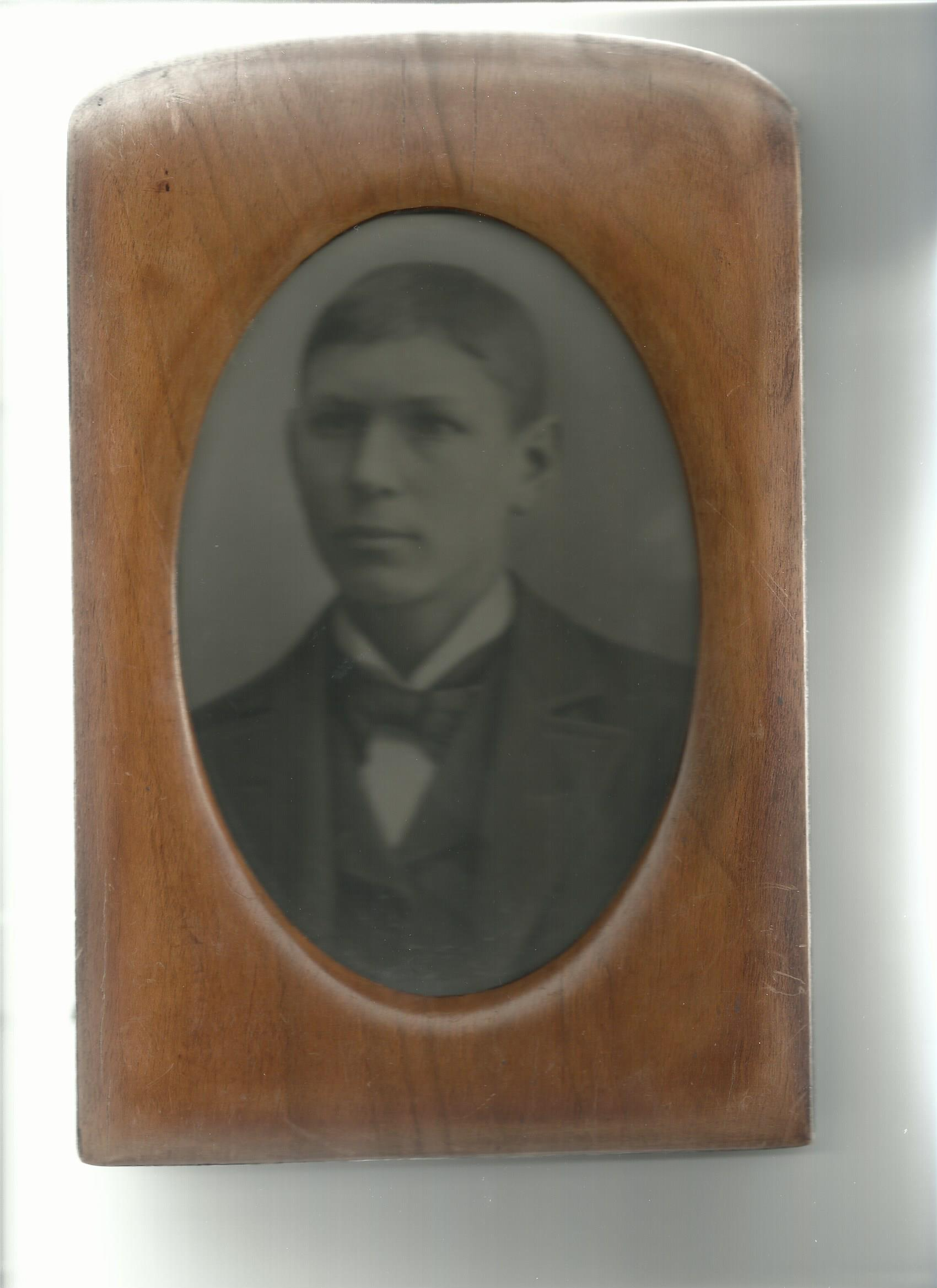 Photo of Andrew Bergstedt– The image of Andrew Bergstedt is taken at Kville, Bohuslan, Sweden before his emigration to Canada. 25 years old.