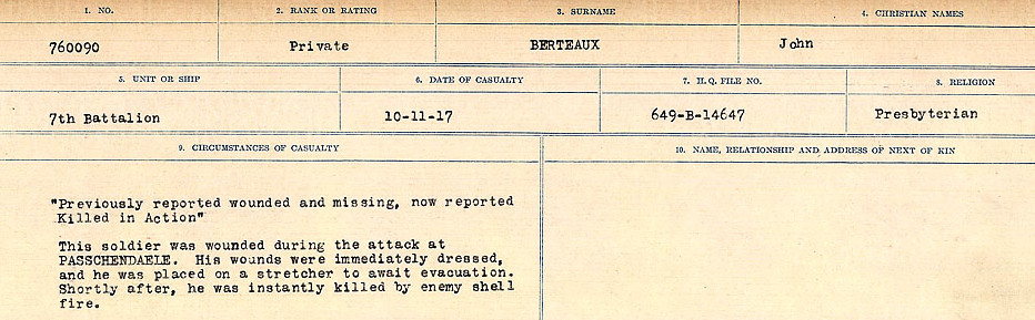 Circumstances of Death Registers– Source: Library and Archives Canada.  CIRCUMSTANCES OF DEATH REGISTERS FIRST WORLD WAR Surnames: Bernard to Binyon. Mircoform Sequence 9; Volume Number 31829_B016719; Reference RG150, 1992-93/314, 153 Page 141 of 652