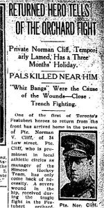 Newspaper Clipping– Article from the Toronto Star for 1 September 1915 referring to the death of Private Bickerstaff.