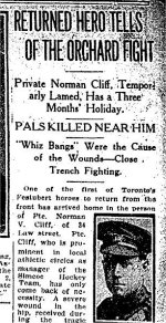 Newspaper Clipping– Article from the Toronto Star for 1 September 1915 referring to the death of Ross Binkley.
