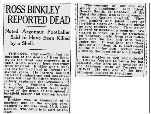 Newspaper Clipping– SOURCE: The Ottawa Citizen, Tuesday May 4, 1915. Page 2