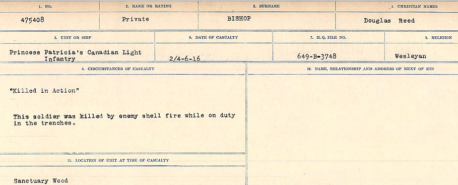 Circumstances of Death Registers– Source: Library and Archives Canada.  CIRCUMSTANCES OF DEATH REGISTERS FIRST WORLD WAR Surnames: Birch to Blakstad. Mircoform Sequence 10; Volume Number 31829_B034746; Reference RG150, 1992-93/314, 154 Page 181 of 734