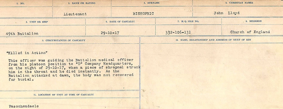 Circumstances of Death Registers– Source: Library and Archives Canada.  CIRCUMSTANCES OF DEATH REGISTERS FIRST WORLD WAR Surnames: Birch to Blakstad. Mircoform Sequence 10; Volume Number 31829_B034746; Reference RG150, 1992-93/314, 154 Page 241 of 734
