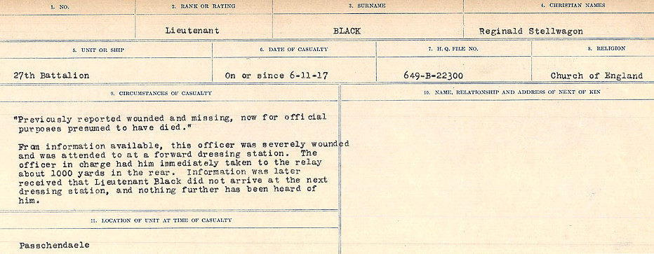 Circumstances of Death Registers– Source: Library and Archives Canada.  CIRCUMSTANCES OF DEATH REGISTERS FIRST WORLD WAR Surnames: Birch to Blakstad. Mircoform Sequence 10; Volume Number 31829_B034746; Reference RG150, 1992-93/314, 154 Page 387 of 734