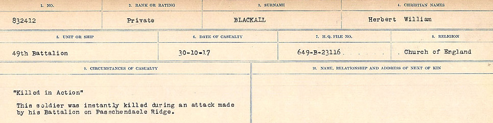 Circumstances of Death Registers– Source: Library and Archives Canada.  CIRCUMSTANCES OF DEATH REGISTERS FIRST WORLD WAR Surnames: Birch to Blakstad. Mircoform Sequence 10; Volume Number 31829_B034746; Reference RG150, 1992-93/314, 154 Page 435 of 734