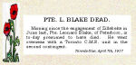 Newspaper Clipping– Pte. Leonard Blake enlisted with the 8th C.M.R. at Peterborough, Ontario, on August 19th, 1915.