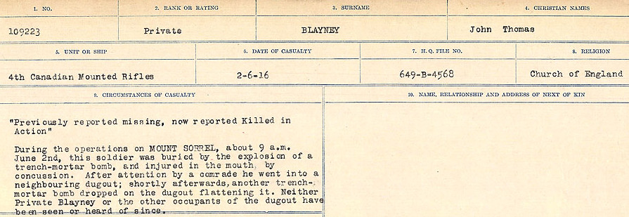 Death Register– Source:  Library and Archives Canada.  CIRCUMSTANCES OF DEATH REGISTERS FIRST WORLD WAR Surnames: Blampie to Booth; Mircoform Sequence 11; Volume Number 131829_B016720; Reference RG150, 1992-93/314, 155 Page 113 of 762.