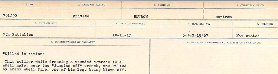Circumstances of Death Registers– Source: Library and Archives Canada.  CIRCUMSTANCES OF DEATH REGISTERS FIRST WORLD WAR Surnames: Border to Boys. Mircoform Sequence 12; Volume Number 131829_B016721; Reference RG150, 1992-93/314, 156 Page 371 of 934