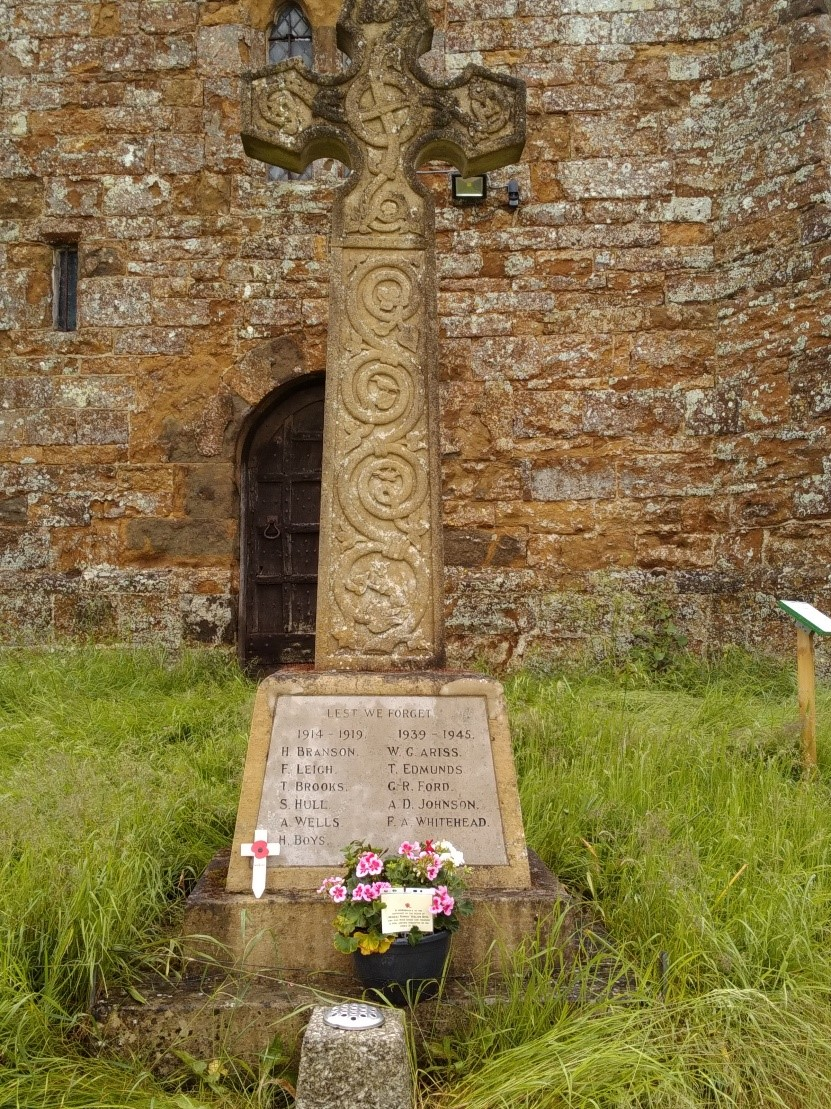 Memorial– Herbert Robert William Boys remembered by his family on the centenary of his death 14th june 2016.War Memorial in the Curch yard at Upper Boddington,Northamptonshire England