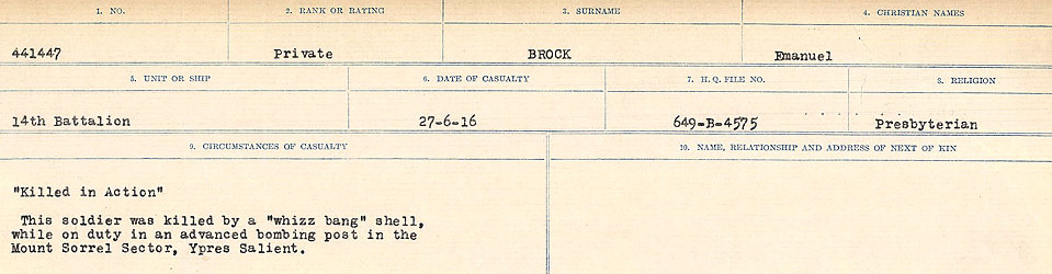 Circumstances of Death Registers– Source: Library and Archives Canada.  CIRCUMSTANCES OF DEATH REGISTERS FIRST WORLD WAR Surnames: Broad to Broyak. Mircoform Sequence 14; Volume Number 31829_B016723; Reference RG150, 1992-93/314, 158 Page 65 of 1128