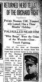 Newspaper Clipping– Article from the Toronto Star for 1 September 1915 referring to the death of Deric Broughall.