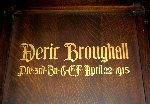 Memorial– A detail of the memorial panel dedicated to Pte. Deric Broughall.  Located in the St. Thomas Church Baptistry, Toronto, Ontario.