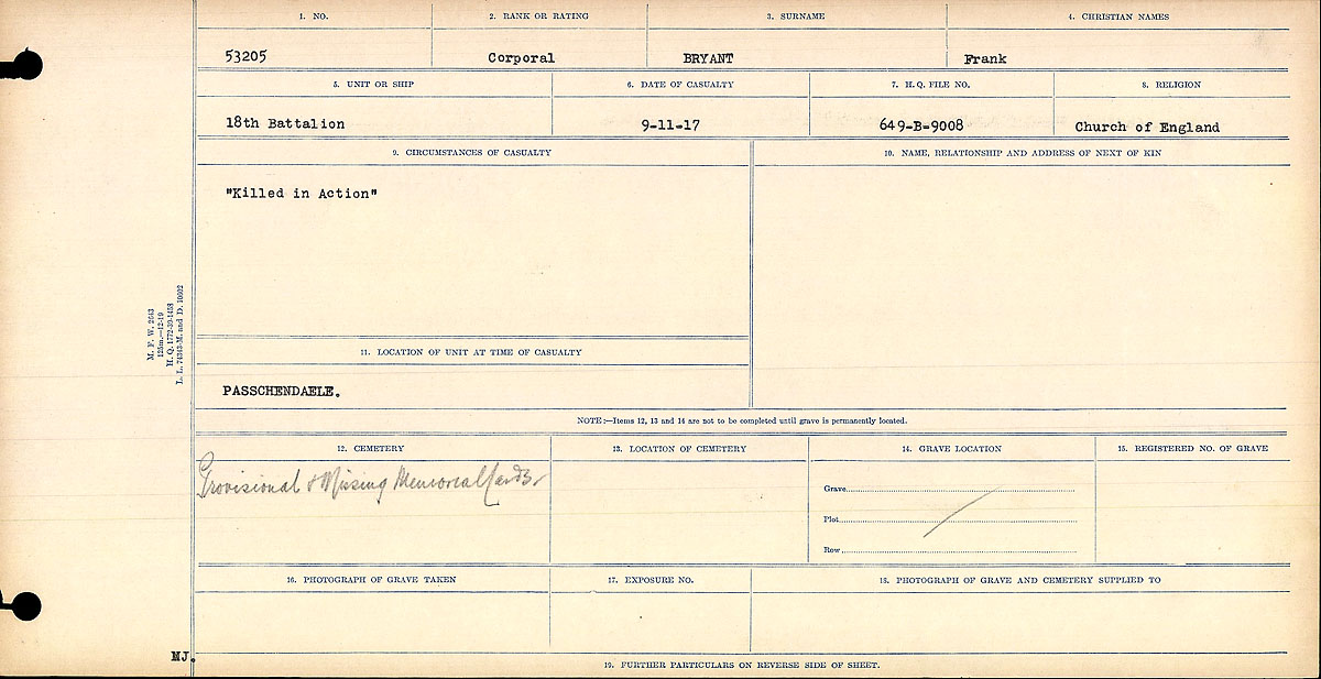 """Circumstances of Death Registers– Circumstances of Death Register: """"Killed in Action."""""""