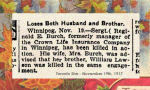 Newspaper Clipping– Pte. Reginald Edward Burch was born in Stratford, Ontario.  He enlisted in Winnipeg in March 1916. In honoured memory.