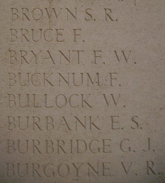 Photo of RAYMOND VICTOR BURGOYNE– Inscription on the Menin Gate, photo courtesy of Marg Liessens.