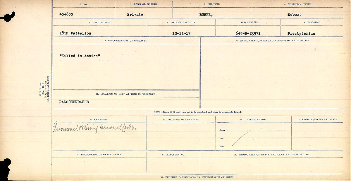 """Circumstances of Death Registers– Circumstances of Death Register: """"Killed in Action""""  Mikan record:46246 Volume Number:31829_B016725 Page:1 Number of pages:926 Contributed by E.Edwards www.18thbattalioncef.wordpress.com"""