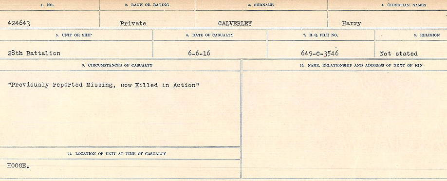 Circumstances of Death Registers– Source: Library and Archives Canada.  CIRCUMSTANCES OF DEATH REGISTERS, FIRST WORLD WAR Surnames:  Cabana to Campling. Microform Sequence 17; Volume Number 31829_B016726. Reference RG150, 1992-93/314, 161.  Page 299 of 1024.