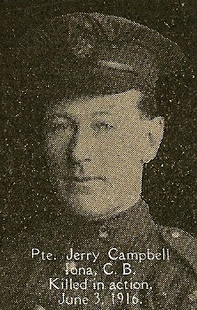 Photo of Jerry Campbell– From the book, Catholics of the Diocese of Antigonish, Nova Scotia and the Great War 1914- 1919.