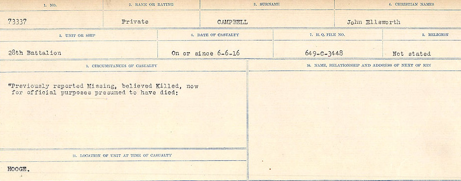 Circumstances of Death Registers– Source: Library and Archives Canada.  CIRCUMSTANCES OF DEATH REGISTERS, FIRST WORLD WAR Surnames:  Cabana to Campling. Microform Sequence 17; Volume Number 31829_B016726. Reference RG150, 1992-93/314, 161.  Page 817 of 1024