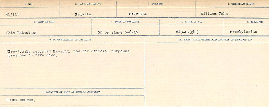 Circumstances of Death Registers– Source: Library and Archives Canada.  CIRCUMSTANCES OF DEATH REGISTERS, FIRST WORLD WAR Surnames:  Cabana to Campling. Microform Sequence 17; Volume Number 31829_B016726. Reference RG150, 1992-93/314, 161.  Page 1007 of 1024