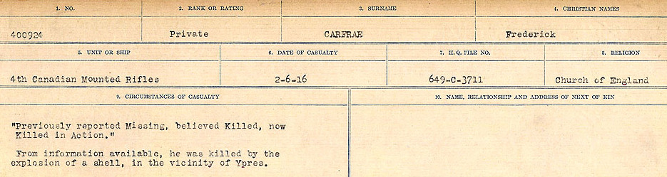 Circumstances of Death Registers– Source: Library and Archives Canada.  CIRCUMSTANCES OF DEATH REGISTERS, FIRST WORLD WAR Surnames:  Canavan to Caswell. Microform Sequence 18; Volume Number 31829_B016727. Reference RG150, 1992-93/314, 162.  Page 203 of 1004.