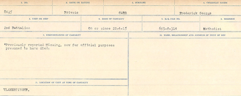 Circumstances of Death Registers– Source: Library and Archives Canada.  CIRCUMSTANCES OF DEATH REGISTERS, FIRST WORLD WAR Surnames:  Canavan to Caswell. Microform Sequence 18; Volume Number 31829_B016727. Reference RG150, 1992-93/314, 162.  Page 423 of 1004.