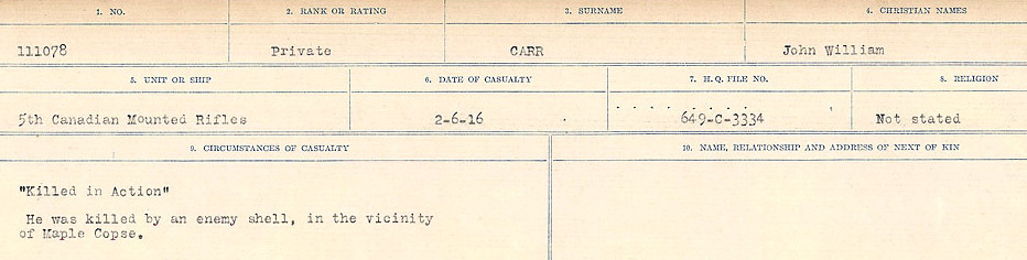 Circumstances of Death Registers– Source: Library and Archives Canada.  CIRCUMSTANCES OF DEATH REGISTERS, FIRST WORLD WAR Surnames:  Canavan to Caswell. Microform Sequence 18; Volume Number 31829_B016727. Reference RG150, 1992-93/314, 162.  Page 435 of 1004.
