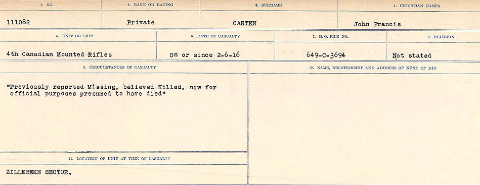 Circumstances of Death Registers– Source: Library and Archives Canada.  CIRCUMSTANCES OF DEATH REGISTERS, FIRST WORLD WAR Surnames:  Canavan to Caswell. Microform Sequence 18; Volume Number 31829_B016727. Reference RG150, 1992-93/314, 162.  Page 647 of 1004.